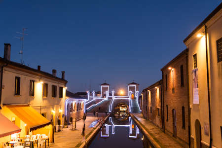 Comacchio, January 3 2017: View of the historic bridge Trepponti