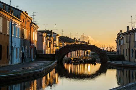 View of the historic bridge in Comacchio