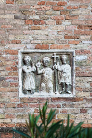 Catholic engraving at Le sette Chiese, Bologna - Emilia Romagna Stock fotó - 94216606