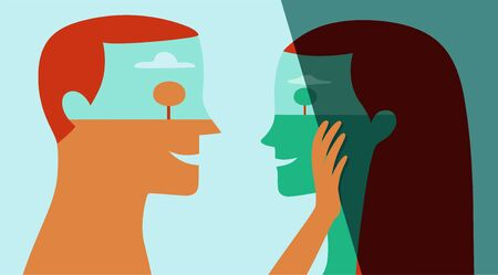 Vector portrait of happy young man helping young woman to overcome her depression