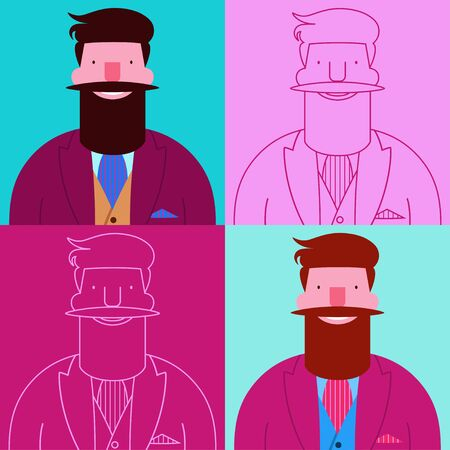Seamless pattern with four bearded happy hipsters isolated on square backgrounds Vectores