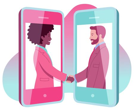 Vector illustration representing young black business woman who agrees remotely with bearded business man using mobile phone Vectores