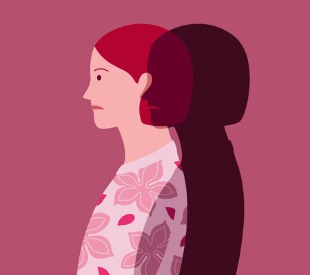 Profile portrait of unhappy young woman who feels the approach of depression, represented as a dark silhouette