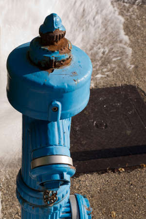 inflammable: blue fire hydrant Stock Photo