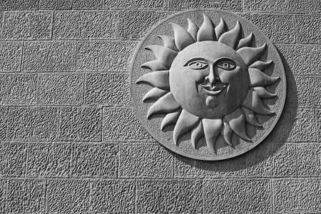 statuary garden: sun stone relief, stone relief of the sun, typical for the Croatian coast