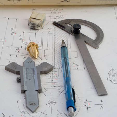 mechanical parts: Designing mechanical parts Stock Photo