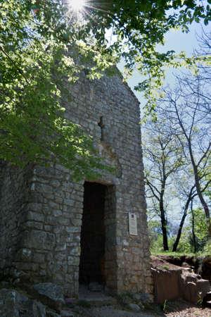 krk: Small church of St. Krsevan, Krk, Croatia (lens flare) Stock Photo