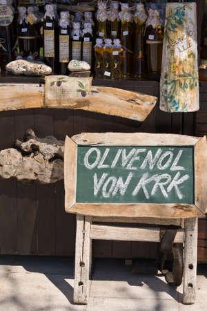 wine trade: label sales of olive oil Croatia Stock Photo