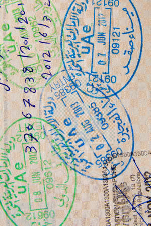 customs official: Detail of passport page with international