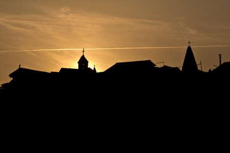 krk: silhouette of church towers in Baska, island Krk , Croatia Stock Photo