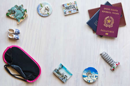 magnets: various passports and souvenir magnets from several world country