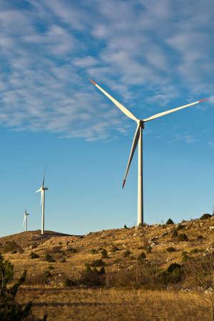 croatian: Wind-turbines on the Croatian coast Stock Photo
