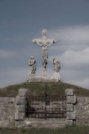 calvary: De focused background of the Calvary crucifixion sculpture Stock Photo