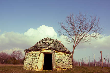 saturation: Istrian kazun, Croatian old stone cottage( vintage saturation )
