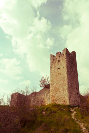 atmospheric: Atmospheric ruins of the medieval castle in abandoned city of Dvigrad, Croatia ( vintage saturation )