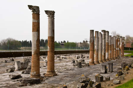 roman columns: Roman columns in archaeological park in Aquileia, Italy