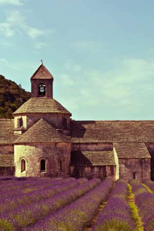 saturation: Senanque Abbey and lavender field , Provence,vintage saturation