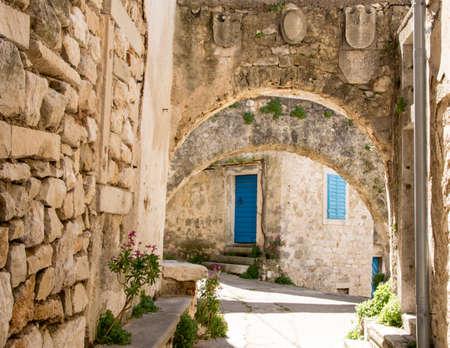 Typical istrian architecture , Plomin , Croatia Stock Photo