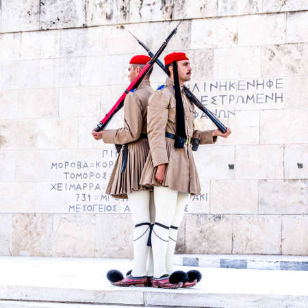ATHENS, GREECE - JULY 21, 2017: Ceremonial changing guards in Athens Editorial