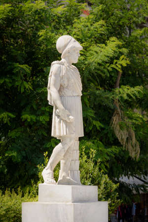 statue of Pericles carved in marble on the streets of Athens, Greece