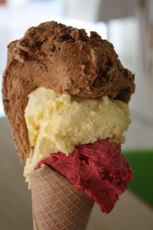 Chocolate,vanilla,starwbery cone
