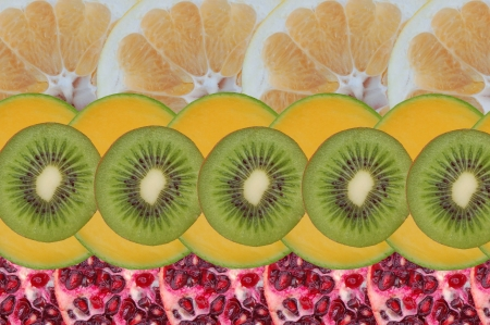 Composition made of slices of tropical fruits photo
