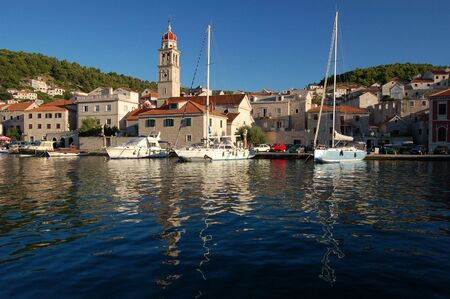 brac: View of town of Pucisca on Brac island in Croatia