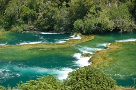 Cascate nel Parco Nazionale di Krka in Croazia Archivio Fotografico