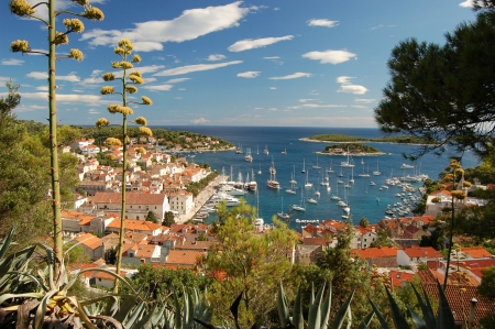 starigrad: View from Spanjola castle in Hvar - Croatia Stock Photo