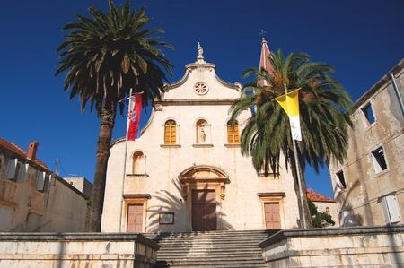 brac: Church in Milna on Brac island, Croatia Stock Photo