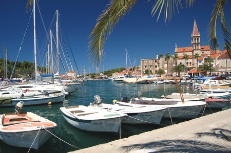 Picturesque scene of boats in Milna on Brac island, Croatia