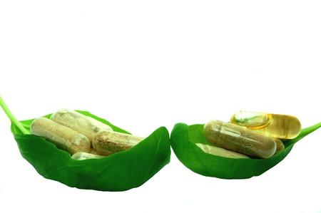 Herbal capsules in basil leaves