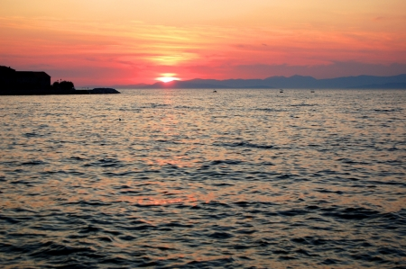 mistery: Picturesque and moody sunset over Dalmatia in Croatia