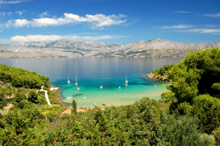 Superb picturesque view on sandy Lovrecina beach on Brac island, Croatia 免版税图像 - 19865038