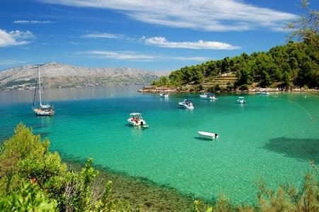 Superb picturesque view on sandy Lovrecina beach on Brac island, Croatia
