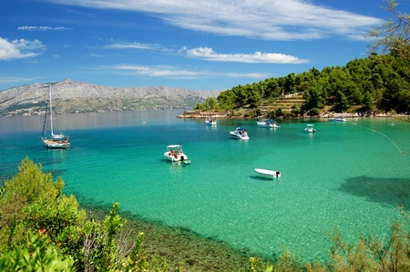 Superb picturesque view on sandy Lovrecina beach on Brac island, Croatia