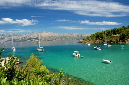picturesque: Superb picturesque view on sandy Lovrecina beach on Brac island, Croatia