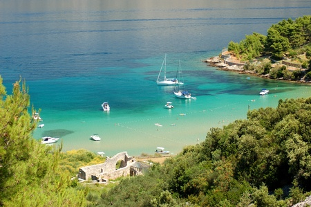 brac: Superb picturesque view on sandy Lovrecina beach on Brac island, Croatia