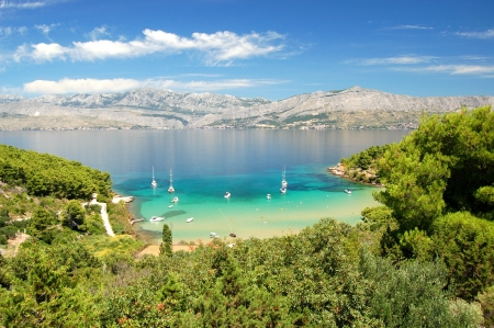 croatia: Superb picturesque view on sandy Lovrecina beach on Brac island, Croatia