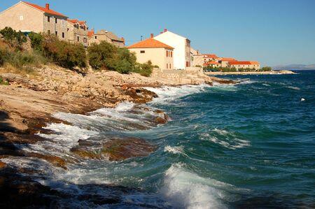 restless: Restless adriatic sea in Postira on Brac island, Croatia Stock Photo