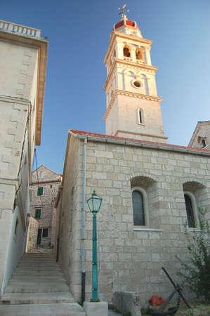 brac: Church in Pucisca on Brac Island, Croatia