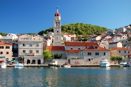 brac: Picturesque superb view of village Pucisca on Brac island, Croatia Stock Photo