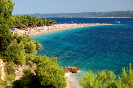 brac: Scenic picturesque view on Golden Cape on Brac island, Croatia