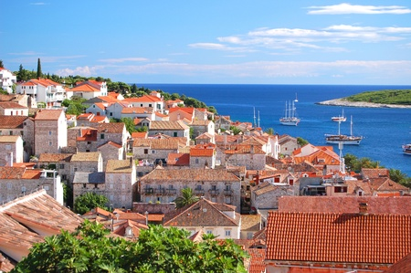 Gorgeous picturesque view on the Old Town of Hvar, Croatia Stock Photo