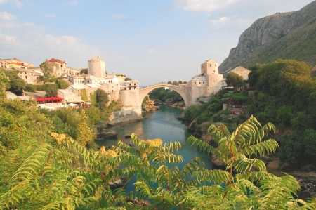 Gorgeous picturesque view on Stari Most in Mostar, Bosnia and Herzegovina