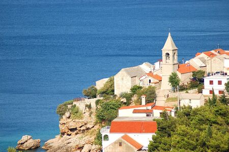 brac: Gorgeous picturesque view on dalmatian village Pisak in Croatia Stock Photo