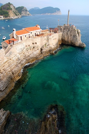 Gorgeous picturesque cliff in Petrovac in Montenegro Stock Photo