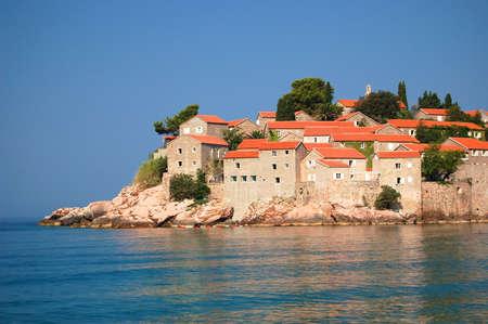 sveti: Picturesque gorgeous scenic view on Sveti Stefan, Montenegro Stock Photo