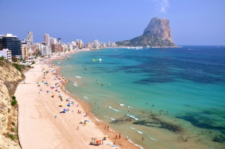 Breathtaking picturesque view on sandy beach in Calpe, Spain