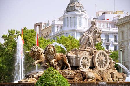 cibeles: Majestic Cibeles Fountain on Plaza de Cibeles in Madrid, Spain